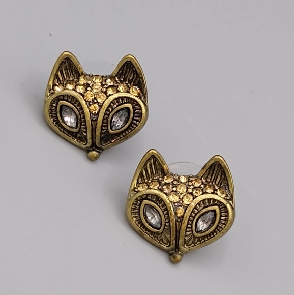 Gold tone Rhinestone Fox Post Back Stud Earrings
